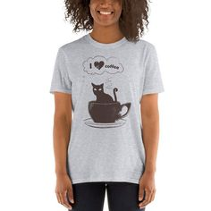 Your place to buy and sell all things handmade Funny Running Shirts, Coffee Lover Gifts, My Coffee, Cute Shirts, Printed Shirts, Barista, Shirt Designs, T Shirts For Women, Cat