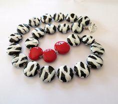 Ceramic Necklace, Kazuri Beads, Black and Red Necklace via Etsy $52