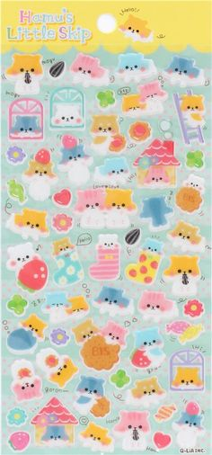 kawaii hard 3D stickers with colorful hamster Japan 2