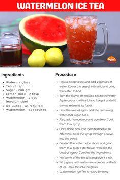 Watermelon Ice Tea | Tasted Recipes Watermelon Ice Tea Recipe, Happy Drink, Iced Tea Recipes, Vegetarian Snacks, Tea Powder, Recipe Steps, Snacks Recipes, Summer Drinks, Recipe Cards
