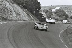 Jim Hall pursues Dave MacDonald in his Lang Cooper during the May, 1964 USRRC race at Laguna Seca. Hall would eventually get by the speedy MacDonald for the win. This race was the debut of the single speed GM torque converter gearbox in the Chaparral. Roger Penske would finish 3rd in the second Chaparral, with a 4-speed Colotti manual gearbox. Dave Friedman photo.