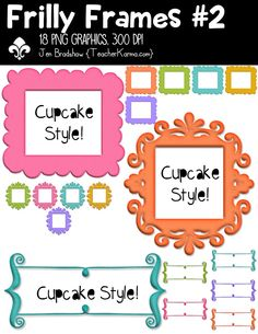 Frilly Frames #2 clipart.   These ** 18 ** sensational frame graphics are just perfect for adding to your classroom materials and educational products that you sell on Teachers Pay Teachers or other sell sites.  Commercial and personal use is ok.  TeacherKarma.com