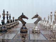 Luxury Chess Sets, Chess Boxing, Chess Set Unique, Asian Elephant, Chess Pieces, Brass Metal, Valentine Gifts, Hand Carved, Antiques