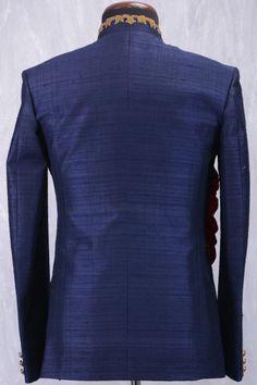 Aegean Blue Raw Silk Zari Embroidered Jodhpuri Suit-ST765