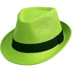 41ec7350912 Lime Green Basic Straw Fedora Hat ( 20) ❤ liked on Polyvore featuring  accessories