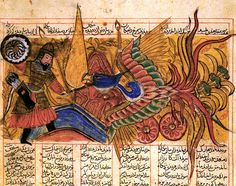 "Simurgh. ""Isfandiyar struggles with the simurgh, Shahnama, 1330. The Simurgh is always represented as female. She was large enough to carry off an elephant. The Simurgh was sometimes said to live at the top of the tree of life and to have seen the creation and destruction of the world three times. She represented the union between the earth and the sky, and was charged with purifying the waters of the earth."""