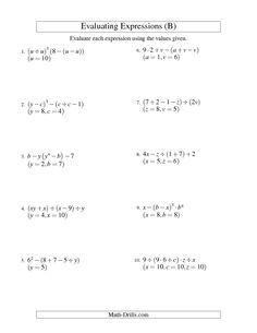 7th Grade Math Worksheet Algebraic Expression Algebraic Expressions Evaluating Expressions Math Expressions