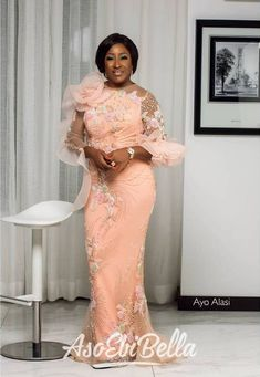 The most beautiful collection ankara aso ebi styles of 2018 you must try. These beautiful aso ebi are very exotic Nigerian Lace Styles, Ankara Long Gown Styles, African Lace Styles, Lace Dress Styles, African Lace Dresses, Latest African Fashion Dresses, Ankara Styles, Nigerian Dress, Nigerian Bride