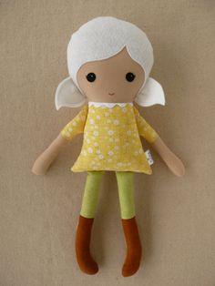 Fabric Doll Stuffed Toy Rag Doll Cloth Doll Girl with White Hair. $34.00, via Etsy.