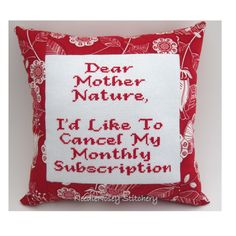 Cross Stitch Pillow Funny Quote Red Pillow Mother by NeedleNosey, $23.00