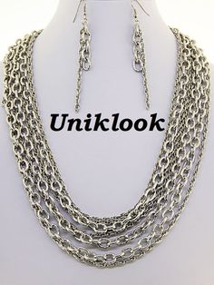 Chunky Many Rows Silver Link Chain Statement Bold Necklace Set Elegant Jewelry $28.99