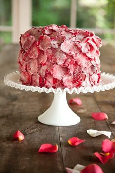 Sugared Rose Parade Layer Cake by Paula Deen ~ So pretty with the candied rose petals. Rose Petal Cake, Rose Cake, Rose Petals, Food Cakes, Cupcake Cakes, Cupcake Toppers, Mini Cakes, Candy Flowers, Edible Flowers
