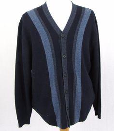 Pendleton Sweater XL Blue Striped Lambswool V Neck Button Down Cardigan Pullover #Pendleton #Cardigan