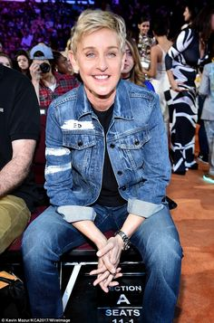 Ellen concluded: 'I promise to be kind to people. I promise to brush my teeth every day an. Ellen Degeneress, The Ellen Show, Ellen Degeneres And Portia, Ellen And Portia, Barney & Friends, Portia De Rossi, Three Kids, Powerful Women, Celebrity Style