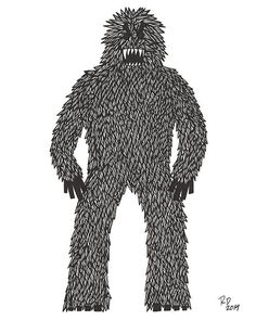 Yeti Sasquatch Bigfoot Monster Illustration Art by AtomicWhale, $15.00