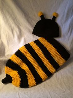 Baby Bumble Bee baby cocoon and hat on Etsy, $25.00