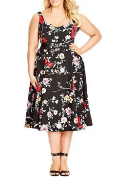 City Chic Belted Floral Fit & Flare Dress (Plus Size) available at #Nordstrom