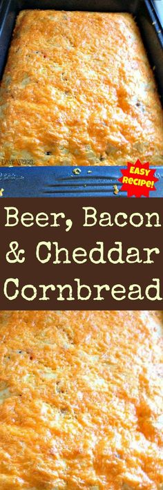 Beer, Bacon & Cheddar Cornbread - Be sure & read the comments re cooking in cast iron skillet! An easy recipe w/a great flavour combination. Goes great w/soups, chili, stews or simply on it's own! Beer Recipes, Great Recipes, Cooking Recipes, Favorite Recipes, Recipies, Popular Recipes, Fall Recipes, Recipes With Bacon, Chili Recipes