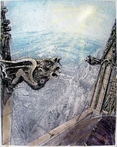 Bootham Bar from York Minster, by Piers Browne -- love his etchings - He used to live in the same street as me!
