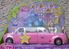 """Polly Pocket STRETCH LIMO w SOUNDS! Car Stretches to LIMOUSINE - Make POLLY Doll 100+ Hair Styles - 24 Pieces (2002 Mattel Canada) by Mattel. $128.99. INCLUDES: Polly Doll approx. 3-3/4"""" tall, Stretch Limo with MUSIC & Sounds is approx. 11"""" long x 3-3/4"""" across, blue pretend Guitar, blue tones Top & Skirt, dark blue Skirt & light blue Top, 2 purple Drinking Glasses with Straws, blue Purse w/straps, Hair Pieces & Accessories to CREATE 100+ Hair Styles!. For Box Condit..."""