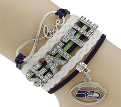 12TH Man Seahawks Fans Blue and Green bracelet.   Hawks and sports fans will love this awesome stacked bracelet. This bracelet makes a great gift for NFL game day parties and events.