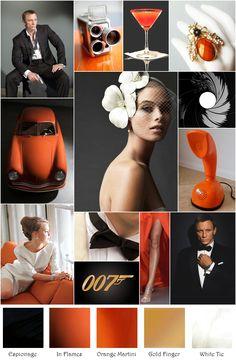 Mod 007 Orange Black White Gold Inspiration Board