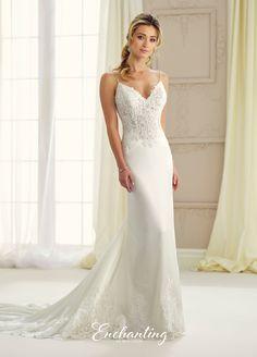 mon cheri bridals 217123 - Sleeveless satin, tulle and lace sheath with hand-beaded spaghetti straps, V-neckline, low cut keyhole back, hand-beaded lace bodice, scalloped lace hem and inset cathedral length train.