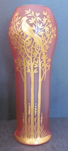 Art Nouveau Vase Satin Pink, Lilac And Lavender with Gold Trees and Chinese Pheasant