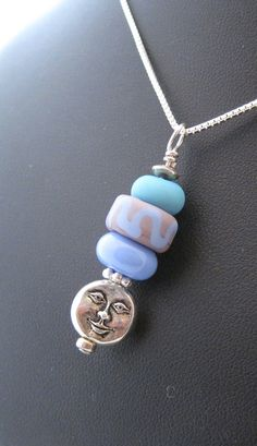 Blue and teal glass beads with silver great simple summer necklace