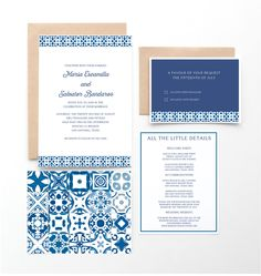 Spanish Tile Wedding Invitation, Mexican or Spanish Destination Wedding, Blue and White Spanish Tiles by seahorsebendpress on Etsy https://www.etsy.com/listing/231088703/spanish-tile-wedding-invitation-mexican