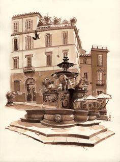 Piazza del Erbe, Viterbo, Italy    FredLynch.com