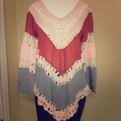 Boho Colorblock Crochet Top Trendy Boho Colorblock Top with crochet. Mixture of blue, coral, & pink. Three quarter sleeve. Super comfy. Size Small. Brand new.  trades ❤️ bundle & SAVE! Boutique Tops Blouses