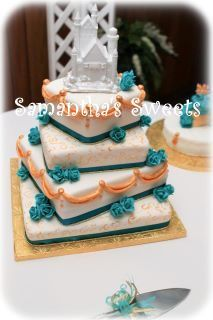 Happily Ever After Wedding Cake with Frog Prince Groom's Cake   by Samantha's Sweets http://www.facebook.com/pages/Samanthas-Sweets/165119423506387