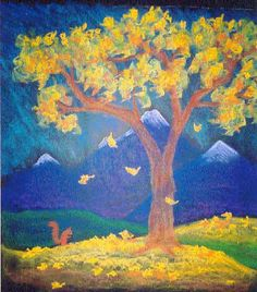 This is a serene chalk drawing of autumn. I like the contrast of the yellow leaves and deep blue.