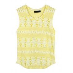 Lace of Stripes Cotton Top (Pastel Yellow)
