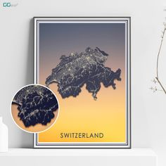 SWITZERLAND map - Switzerland stars map - Travel poster - Home Decor - Wall decor - Office map - Switzerland gift - GGmap design Office Wall Decor, Wall Art Decor, New York City Map, Map Shop, Country Maps, Skyline Art, Custom Map, Metallic Colors, Watercolor Print