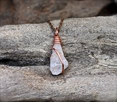 Quartz Crystal Necklace  Hairstone Quartz by MermaidTearsDesigns