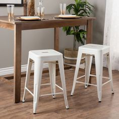 $90 - Tabouret 24-inch White Metal Counter Stools (Set of 2)