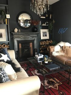 An Edwardian Home With A Dose Of Cool - Real Home Tour of Claire Botha - The Interior Editor Dark Living Rooms, My Living Room, Home And Living, Living Room Decor, Edwardian House, Black Rooms, Boho Home, Dark Interiors, Foyers