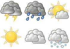Weather Symbols For Kids Printables. could turn this into a quiet book page Weather Symbols For Kids, Weather For Kids, Preschool Weather, Weather Unit, Weather Activities, Weather And Climate, Toddler Activities, Weather Icons, Rainy Day Crafts