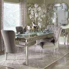 2a3fa6d188 Z Gallerie's Sophie Mirrored Dining Table exudes sophistication & elegance!  Complete the look by pairing with our tufted velvet Lola Dining Chairs.