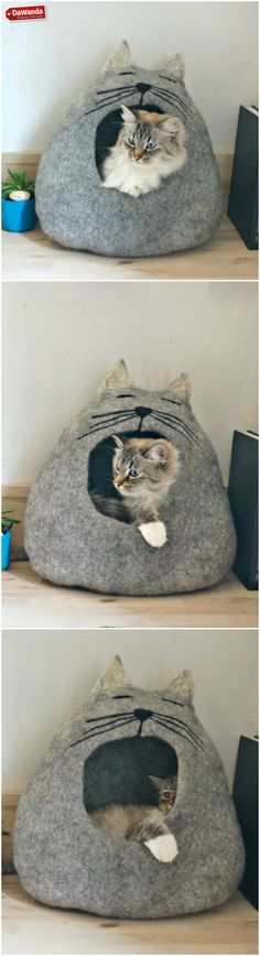 Cat cave made of grey wool. Makes for a cosy hideaway and cat bed for your feline friend! Via en.DaWanda.com.