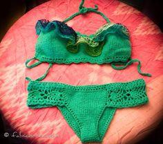 Green Knit Bikini Against Orange Background