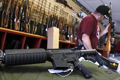 A Palmetto M4 carbine on display at the Rocky Mountain Guns and Ammo store in Parker, Colo. (image source: REUTERS/Shannon Stapleton)