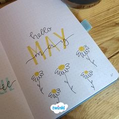 Hello May Daisy Bullet Journal Design. Find many more bullet journal layouts ideas and resources over on the Twinkl website. The post Hello May Daisy Bullet Journal Design. appeared first on Diy Flowers. Bullet Journal Designs, Doodle Bullet Journal, Bullet Journal Month, Bullet Journal Cover Page, Bullet Journal Aesthetic, Bullet Journal Notebook, Bullet Journal Headers, Bullet Journal Spread, Bullet Journal Inspo
