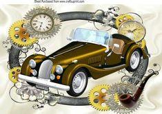 Nostalgic Vintage car in clock steampunk frame A4 on Craftsuprint - Add To Basket!