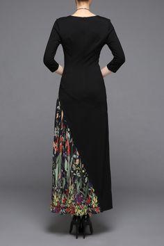 Ziyi Black V-Neck Print Patched Dress   Maxi Dresses at DEZZAL