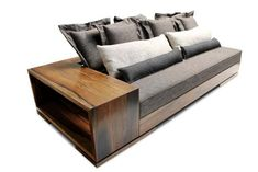 For Sale on 1stDibs - The Patone Sofa balances a modern design with natural materials and can be made in any size with any upholstery material. Shown here in several versions, Wooden Living Room Furniture, Bench Furniture, Furniture Design, Wood Futon Frame, Wooden Sofa Set Designs, Long Sofa, Curved Sofa, Small Sofa, Modern Sofa