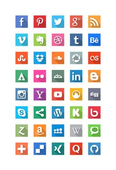 5 social media flat icons Top 40 Must Have Social Media Icon Sets from 2013