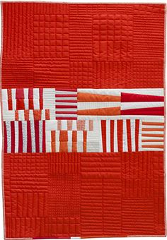 Carolyn Friedlander New Quilt Patterns - I like the subtle texture the quilting on the solid orange